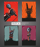 Rock Backgrounds Set. Rock backgrounds. Four templates for rock posters Royalty Free Stock Image