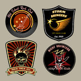 Rock badges. Vector rock badges with guitar, skull and wings signs Stock Photography