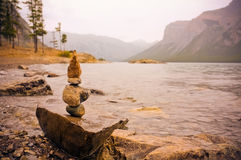 Rock Balance Art Beside Body of Water Stock Photography