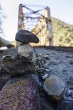 Rock Balance. A beautiful picture of some rocks over an old railway stock image