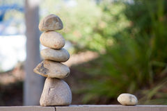 Rock Balance on the Fence Royalty Free Stock Images