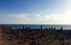 Rock balancing area Tenerife Royalty Free Stock Images