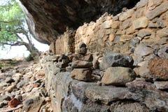 Rock balancing around the way to the top of Pidurangala Rock to stock photo