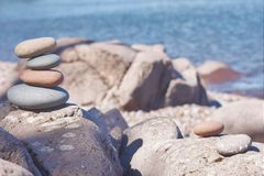 Rock balancing stock photo