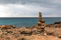 Rock balancing in Ses Saline cap. On Majorca island & x28;Balearic Islands, Spain& x29 Royalty Free Stock Image