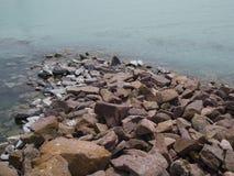 Rock in the Balaton lake  of coast. Rock in the Balaton lake of coast Royalty Free Stock Photo