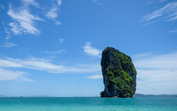The rock of Bamboo Island Krabi Thailand Stock Image