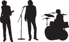 Rock band. Illustration of a rock or pop band with guitar, drums and singer royalty free illustration