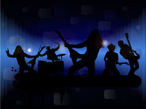 Rock band. In abstract background, blue toned vector illustration