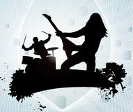 Rock band. In abstract background stock illustration