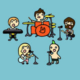 Rock band. Set of cartoon icons on rock band theme, vector illustration Royalty Free Illustration