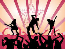 Rock band. Vector illustration of a music band and dancing audience Royalty Free Stock Photography