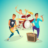 Rock band concer. Group creative young people playing instruments impressive performance. Cartoon vector illustration.  Stock Photos