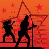 Rock band concert. Rock band guitar and vocal on concert stock illustration