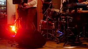 Rock band at a concert flare move stock footage