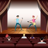 Rock band concert, guitar and musician on stage. Flat vector illustration Stock Images