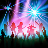 Rock band concert. Rock band performing in front of a crowd. Vector illustration Stock Image