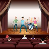 Rock band concert on stage and guitarist. Flat vector illustration Stock Images