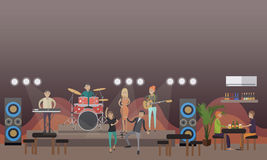 Rock band concert vector illustration in flat style. Rock band live music concert vector illustration. People dancing to music and drinking beer. Club party Stock Photos