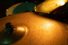 Rock band drum set with cymbals stock photo