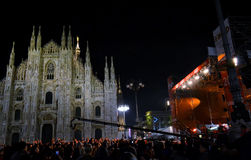 Rock band exhibiting with New Year concert at Duomo square. Royalty Free Stock Image