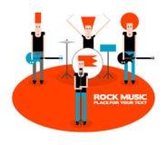 Rock band. A four-member rock band, cartoon vector illustration Royalty Free Stock Photo