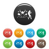 Rock band icons set color stock illustration