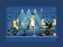 Rock band illustration. Rock band concert, guitar and musician, musical instrument, sound and performance, stage and guitarist, flat vector illustration Stock Photos