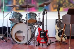 Rock Band Instruments. Guitars, drums, piano Stock Photography