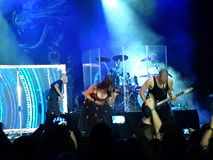 Rock concert live. 03 september 2016- Bucharest , Romania. The rock band , Within Temptation singing live Royalty Free Stock Photos