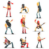 Rock Band Members Funny Characters Set. Of Graphic Design Cool Geometric Style  Drawings On White Background Stock Photos