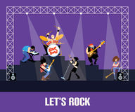 Rock band music group concert vector illustration Royalty Free Stock Photography