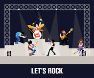 Rock band music group concert vector illustration Royalty Free Stock Photos