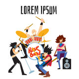 Rock band music group with musicians. Rock band, music group with musicians concept of artistic people vector illustration. Singer, guitarist, drummer, and Stock Images