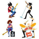 Rock band music group with musicians. Rock band, music group with musicians concept of artistic people vector illustration. Singer, guitarist, drummer, and Royalty Free Stock Image