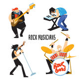 Rock band music group with musicians. Rock band, music group with musicians concept of artistic people vector illustration. Singer, guitarist, drummer, and Stock Image