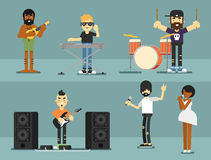 Rock band music group with musicians. Concept of artistic people vector illustration. Singer, guitarist, drummer, solo guitarist, bassist, keyboardist Stock Images