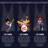 Rock band music group vector illustration Royalty Free Stock Photos