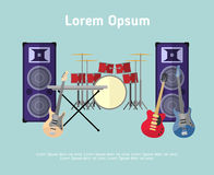 Rock band musical instruments in flat style Stock Images