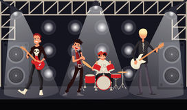 Rock band musicians perform on stage Stock Photo
