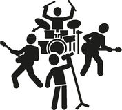 Rock band pictogram. Pictogram of a rock band with singer guitarist and drummer Royalty Free Stock Photos