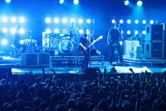 Rock band Placebo and Brian Molko in concert at Sport Palace on Saturday, September 22, 2012 in Minsk, Belarus Royalty Free Stock Photos