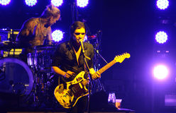 Rock band Placebo and Brian Molko in concert at Sport Palace on Saturday, September 22, 2012 in Minsk, Belarus Stock Image