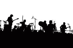Rock Band Silhouette. Silhouette of Rock Band playing live outdoors Stock Images