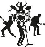 Rock band silhouette. Silhouette of a rockband drummer guitarist singer Stock Images