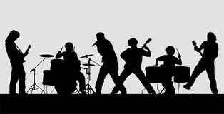 Rock band silhouette on stage. Vector illustration royalty free illustration
