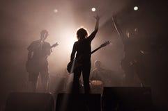 Rock band silhouettes. Rock band Horkyze Slize silhouettes, Slovakia Royalty Free Stock Photo