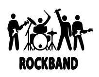 Rock band simple illustration. Rock band, bassist, drummer, vocalist and guitar player icons, simple vector illustration Stock Photography