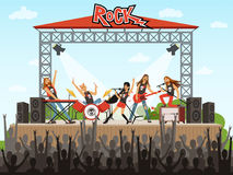 Rock band on stage. People on concert. Music performance. Vector illustration in cartoon style. Music stage rock concert, performance musician royalty free illustration