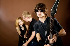Rock band in studio Royalty Free Stock Images